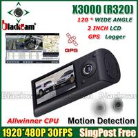 Car Black Box X3000 With GPS Logger Dual Lens Camera DVR 140 Degree 3D Accelerating G-SENSOR Singapost Free shipping