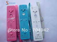 Free shipping pink Color Remote built in Motion Plus  +  Nunchuck  +  Silicon Case + Strip for Wii