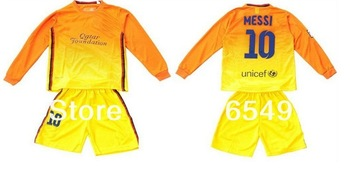 MESSI #10 XAVI A.INIESTR Thailand quality  child /youth full /long sleeves occer jersey,boy football shirt ,soccer unifroms