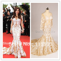 2014 Actual Real Sample New Arrival Elie Saab Beaded Lace With Long Sleeve Backless Mermaid Evening Prom Celebrity Dresses Gown