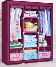 Strong Quality Large Simple wardrobe combination folding wardrobe double wardrobe storage steelframe Large size free shipping(China (Mainland))