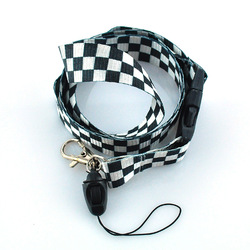 FREE SHIPPING - Lanyard White checkered, Keychain, Polyester lanyard, Mobile lanyard, ID badge holder keys ,48pcs/lot PROMOTION(China (Mainland))