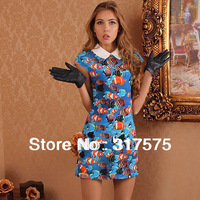 Free shipping wholesale /retail printing Turn-down Collar spring skirts for women 2013 new ladies fashion princess prom dresses