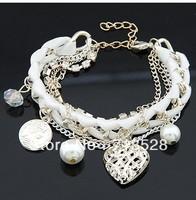 New Fashion knitting love charm Bracelets free shipping