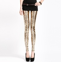 Free shipping 2013 new spring summer ladies snakeskin design  fashion leggings gold color