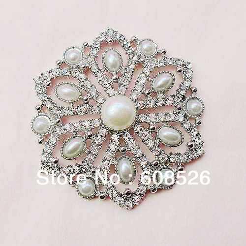 free shipping 1 piece beautiful cream pearl and rhinestone crystal large brooch for wedding bridal dress