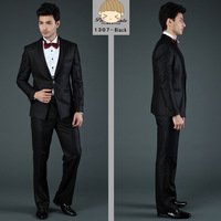 2014 hottest high quality fashion black&gray men's wedding suit or tuxedo suit brand business suit