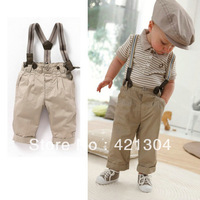 Free Shipping Baby Set 5sets/lot 2013 NEW STYLE Boy's Summer Suit T shirt + Jeans + Straps Baby Suit for kids 80-120cm