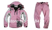 Free shipping waterproof and windbreak padding ski suit for lady, brand women snowing jacket and pant  (S11/12)