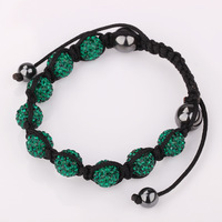 1 PC Bracelet Green 9 Beads Ball Magnetic Shamballa Micro Pave AAA Crystals Friendship New Rope Jewelry For Girls Wholesale
