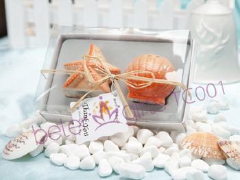Free Shipping 200pcs=100box Seashell and Starfish Salt and Pepper Shakers TC001 as Wedding Favor