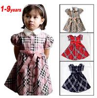 Retail Wholesale Girls Brand Dress 1-9 Summer Baby Girl Dresses bowknot Waist  Plaid Printing Petti Kids/Children Princess Dress