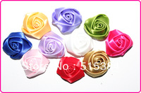 "silk petti rosette  flower wholesale handmade colorful satin material flower rosette 1""fabric roses100pcs/lot free shipping"