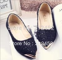 Fashion 2015 women's shoes metal pointed toe flat casual fashion beautiful lace single shoes women's shoes,free shipping