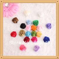 "silk petti rosette  flower wholesale handmade colorful satin material flower rosette 1""fabric roses100pcs/lot free shipping"