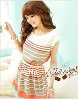 2013 summer New Colorful Stripes orange stripnes Chiffon Mini Dress  Bowknot Belt Women's Dresses free shipping#5343