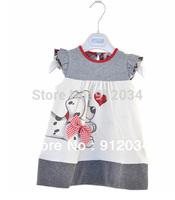 Lovely cartoon polka dot dog printed dress for baby girls children's summer dresses girls clothes 2015
