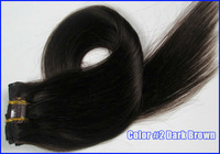 "15"" 18"" 20"" 22"" Virgin Brazilian Remy Hair Clip In Human Hair Extensions Straight 7Pcs/Full Head Set Color #2 Dark Brown"