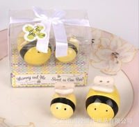 Mommy and Me Sweet as Can Bee Ceramic Honeybee Salt & Pepper Shakers 50Set/Lot baby shower favors and gifts +FedEx Free shipping