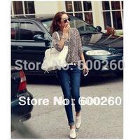 Holiday Sale 2013 Korea style leopard print V Neck turn-up cuff thin long sleeve shirt free shopping#5313