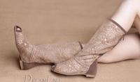 Hot! Women's open toe boots cutout summer boots high-leg boots beige. black. Light brown. Rose Red. white size 35-41