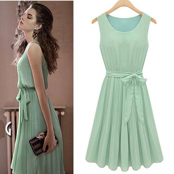 2013 HOT Summer Womens ladies Girls Fashion Sleeveless Mint Green Pleated Sleeveless Chiffon Vest Dress Free Shipping #L034604