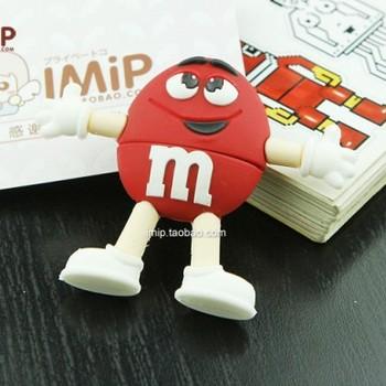 PVC Cartoon M&M USB Flash Drive 4GB 8GB 16GB 32GB 64GB Free Shiping