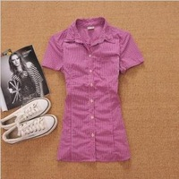 hot sale! low price ! New Women Casual Short Sleeve Shirts Lady Turn-down Collar Plaid Shirts Slim tops/tees cotton blouse A99