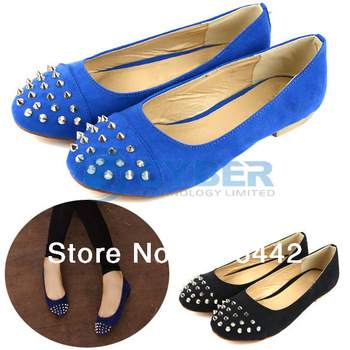 Women's Ladies Sexy Casual Round Toe Rivet Ballet Flats Shoes 2 Colors  11484