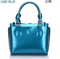 free shipping Quality guarantee 2013 new summer candy color patent leather handbag 100% genuine leather cowhide women's bag