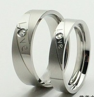 Trendy 316L Stainless Steel Lovers Couples CZ Stones Anniversary Engagement Wedding Endless Love Rings