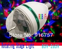 FreeShipping 5pcs/lot RGB Full Color 3W E27 LED Bulb Crystal Auto Rotating Stage Effect DJ Light Bulb Mini laser Stage Light