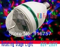 FreeShipping 5pcs/lot RGB Full Color 3W E27 LED Bulb Crystal Auto Rotating Stage Effect DJ Light Bulb Mini laser Stage Light