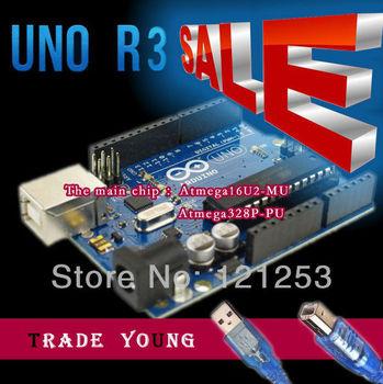 The Latest 100% New~! Factory price For arduino UNO R3 ATMEGA328P ATMEGA16U2 + 1PCS USB Cable for Arduino