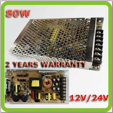 Free shipping non-waterproof 80W 12V24VDC aluminum led transformer driver power supply with 2 years warranty(China (Mainland))