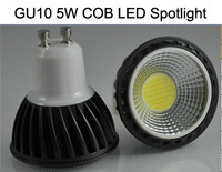 Wholesale freeshipping LED spotlight 5W COB Bulbs GU10 base aluminum body with glass cover 100pcs/lot
