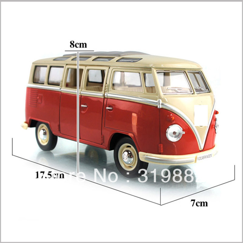 Free shipping Vw Bus Classic Soft World Large Alloy Car Model Toy 1-24(China (Mainland))