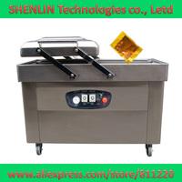 Double chamber vacuum food packaging machine plastic bag shrinking sealer,electronics package heat sealing equipment,DZ-500-D-2P