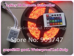 5M 300 LED RGB 5050 waterproof led Strip + 24 key IR Remote Controller DC 12V free shipping(China (Mainland))