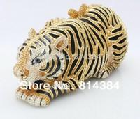 2014 Free Shipping Tiger Shaped Rhinestone Evening Bag Women Crystal Party Bag S08139