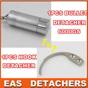 1pcs bullet detacher stop lock detacher  EAS Hard Tag  detacher 6000gs+ 1pcs handheld hook detacher