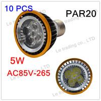 10Pcs/lot Par20 Led Lamp E27 5X1W 5W Spotlight Led Light Led Bulbs 85V-265V Energy Saving Free shipping