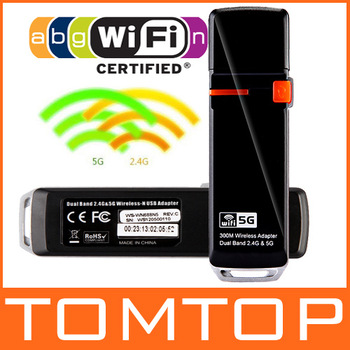 Wireless USB Wifi Network Card Adapter Dual Band 2.4G 5G 300Mbps 802.11a/b/g/n with Internal Antennas Free Drop Shipping