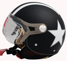 Free shipping Fashion Halley Beon vintage motorcycle 3/4 helmet Scooter half helmet B-100 lucky star open face capacete ECE(China (Mainland))
