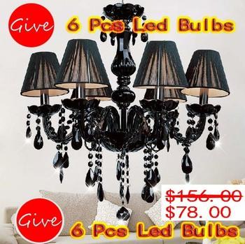 Wholesale crystal chandelier  crystal ceiling lamp E14*6 Lights Black