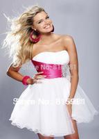 2014 Short Cocktail Dress Strapless White with Fuschia Sash XS S M L XL-3XL 4XL FREE SHIPPING