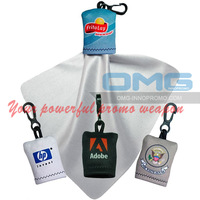 Free Shipping!Custom Imprint Promotional Microfiber Lens Cleaning Cloth Pouch with Keychain