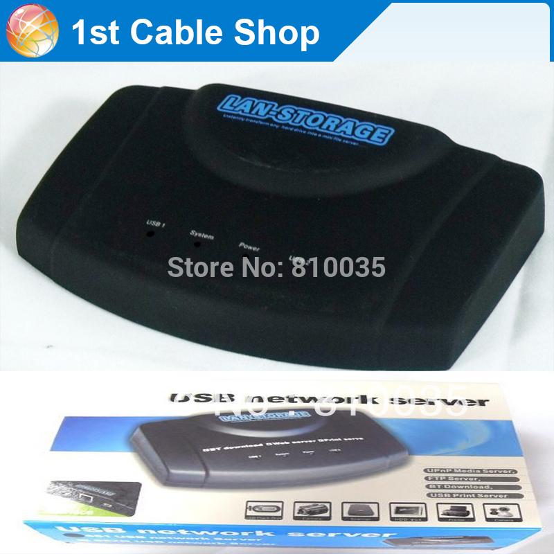 Free shipping&wholesale 1pcslot RJ45 USB Network Lan Storage Nas Ftp Samba Print Server BT CLIENT USB network server adapter(China (Mainland))