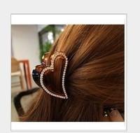 Min order $15(can mix order) Free shipping wholesale cute heart design rhinestone hair claw clips for women hair gripsheadwear