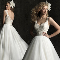 New 2014  wedding dress  Fashion royal oblique one shoulder lace princess  feather formal dress lace Free Shipping